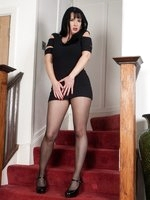 Raunchy northern lass Tanya in black mini dress and sheer to waist pantyhose!