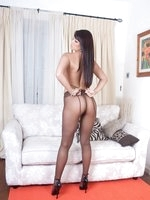 Sexy brown pantyhose sure turns gorgeous Sasha on!