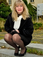 Outdoor in my opaque pantyhose
