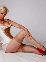 In those golden times, a stocking top, suspenders, slips, french lacy knickers girdles, basques...