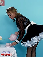 Naughty maid Kelli Smith wearing sexy white lingerie makes her tea serving as naughty as possible
