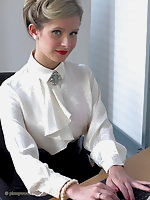 Office glamor girl Elle Richie in satin lingerie does everything to make her boss happy. Do you want to be her boss?