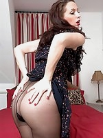 Tammy in sheer to waist black panyhose!