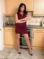 Michelle knows that you just love her shoes, the high thin heel and the low cut toe cleavage fronts just give you that feeling every time.