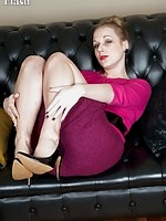 Coy Aston in tight pencil skirt, black footed ff nylons and vintage lingerie!