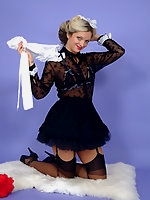 Sexy blonde maid wearing sexy lingerie makes her tidying up as naughty as possible.
