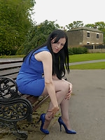 Today you catch the lovely Tricia out and about in a gorgeous blue dress with matching shiny stiletto heels