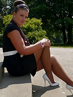 Sexy Karen gets some hot sun on her shiny nylon legs