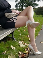 Leggy Imelda takes a break from her busy working day
