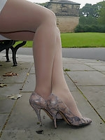 Faye Taylor in silky nylon pantyhose and her lovely high stiletto shoes