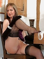 Satin Jayde in nylons