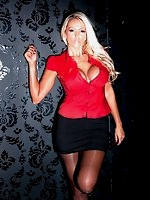 Lucy Zara slip her huge boobs out of her tight satin blouse