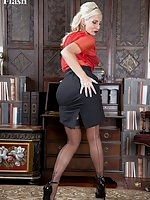 Looking very retro is Jennifer ff nylons