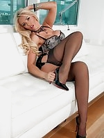 Lucy Zara wearing her sexy lingerie and FF stockings