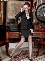 Mistique showing her long legs in black ff nylons
