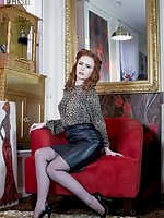 Ella in leather pencil skirt, sheer black vintage ff nylons and lacy lingerie!