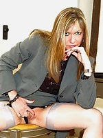 Office boss strips to stockings