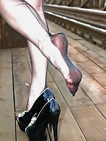 wrinkly nylons and heels outdoors