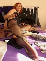 Black nylons foot show