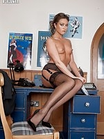 Natalia Forrest in black full fashion nylons