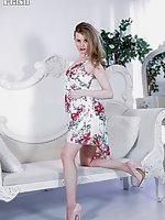Brook looking pretty in heels and RHT nylons showing off her long legs