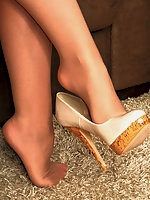 Pantyhose Angel high heels mature blonde fetish