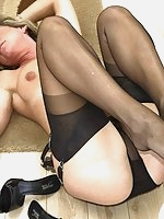 Sexy milf in sheer panty fun