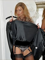 Party girl strips in thong and nylons
