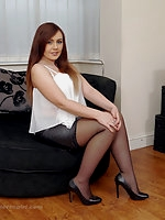 Lauryn silky nylon legs and tall black pointy high heel shoes