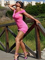 Sexy MILF Eve Miller outdoor in Pink