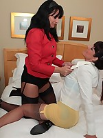 Aunty Kathy lesbos in stockings and panties
