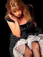 Angel Lovette in black old vintage rht Stockings